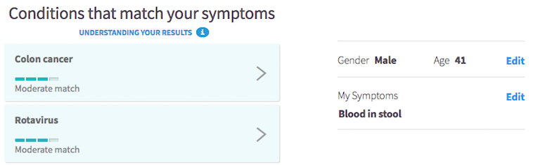Symptom checker - blood in stool